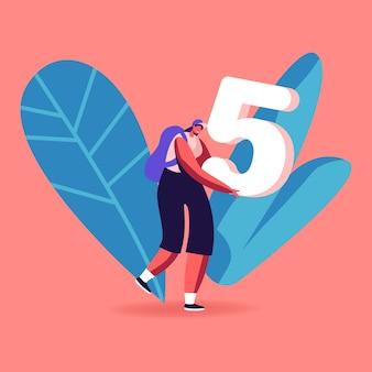 Wiskunde science concept. gelukkig lachend meisje student karakter dragen enorme nummer vijf in handen. cartoon afbeelding