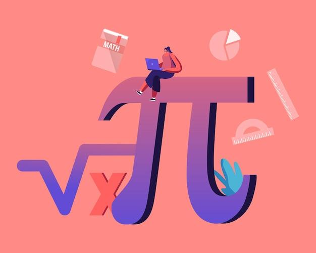 Wiskunde wetenschap en algebra concept. cartoon afbeelding