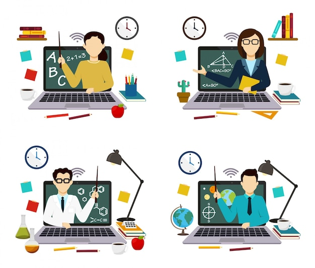 Wiskunde, wetenschap, scheikunde, aardrijkskunde, webdocenten op school