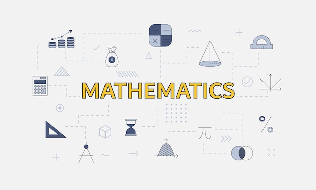 Wiskundeconcept met pictogrammenset met groot woord of tekst op centrum vectorillustratie