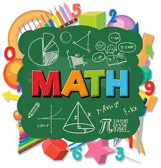 Wiskundepictogram met formule en hulpmiddelen