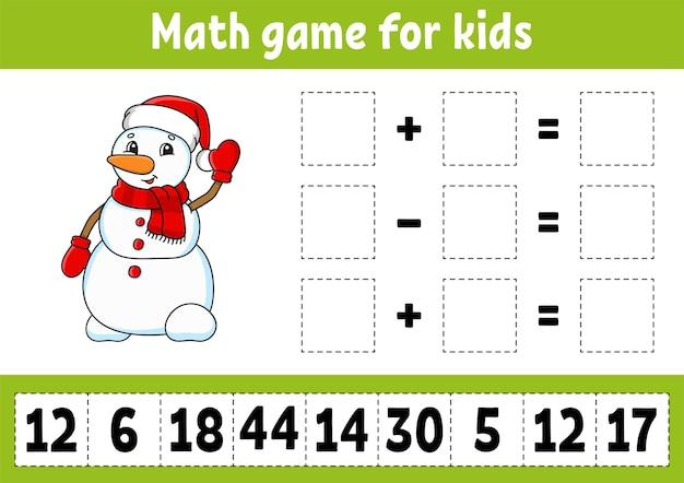 Wiskundespel voor kinderen werkblad voor het ontwikkelen van onderwijs