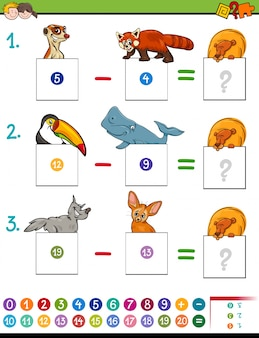 Wiskundesubtractiespel met schattige dieren