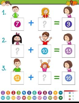 Wiskundetoevoeging educatief spel met grappige kinderen