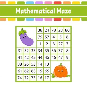 Wiskundig doolhof. spel voor kinderen. getallenlabyrint. onderwijs ontwikkelen werkblad.