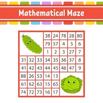 Wiskundig doolhof. spel voor kinderen. getallenlabyrint.