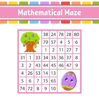 Wiskundig doolhof. spel voor kinderen. nummer labyrint. onderwijs ontwikkelt werkblad. activiteitspagina.