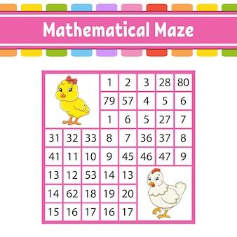 Wiskundig doolhof. spel voor kinderen. nummer labyrint. onderwijs ontwikkelt werkblad.
