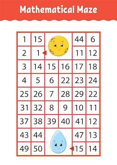 Wiskundig doolhof. spel voor kinderen.