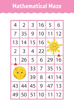 Wiskundig doolhof, spel voor kinderen.