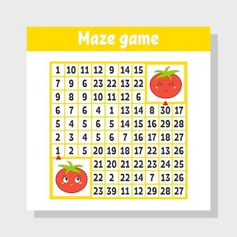 Wiskundig gekleurd vierkant doolhof. help de ene tomaat bij de andere.