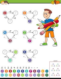 Wiskundige berekening educatief werkblad voor kinderen