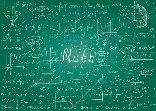 Wiskundige formules met de hand getekend op een groen onrein schoolbord voor de achtergrond.