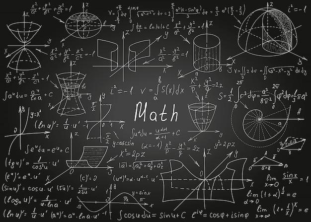 Wiskundige formules met de hand getekend op een zwarte schoolbord voor de achtergrond