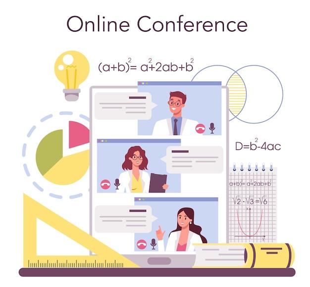 Wiskundige online service of platform. wiskundige zoekt en gebruikt wetenschappelijke patronen. online conferentie. vector illustratie.