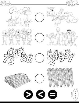 Wiskundige puzzel groter, minder of gelijk aan