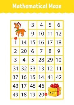 Wiskundige rechthoek doolhof. spel voor kinderen. getallenlabyrint.