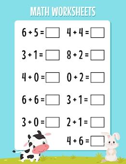 Wiskundige toevoeging voor het werkblad van de kleuterschool