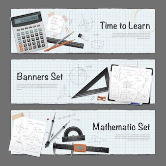 Wiskundige wetenschap banners set