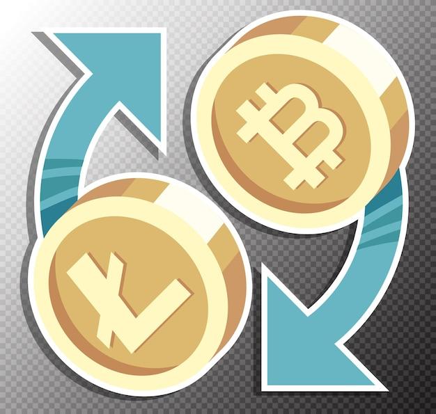 Wissel cryptocurrencies-illustratie in vlakke stijl uit