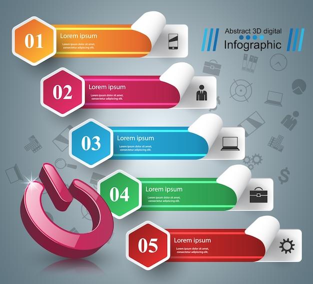 Wissel van pictogram. 3d-infographic ontwerpsjabloon en marketing pictogrammen.