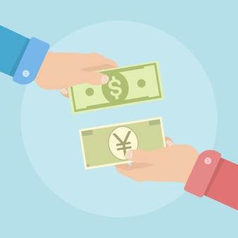 Wisselkantoor. buitenlands geld overmaken. dollar, yen (yuan) -symbool.