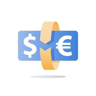 Wisselkantoor, dollar en euro, investeringsrendement, geldoverdracht, financieel kapitaal, terugbetalingsconcept, cirkel pijl, oplossingsleverancier, onmiddellijke betaling, pictogram