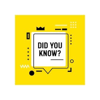 Wist je dat banner, citaat met tekstballon en lineaire geometrische vormen op geel?