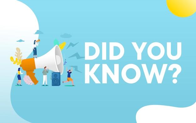 Wist je dat het concept van de woordillustratie, mensen met megafoon schreeuwen op megafoon en informatie geven,, flyer
