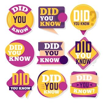 Wist je dat je badges-collectie hebt Gratis Vector