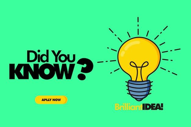 Wist je dat? lamp vectorillustratie