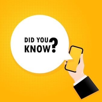 Wist u. smartphone met een bellentekst. poster met tekst wist je dat. komische retro-stijl. telefoon app tekstballon.