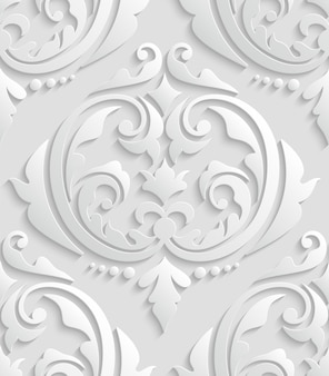 Wit 3d damast naadloze patroon
