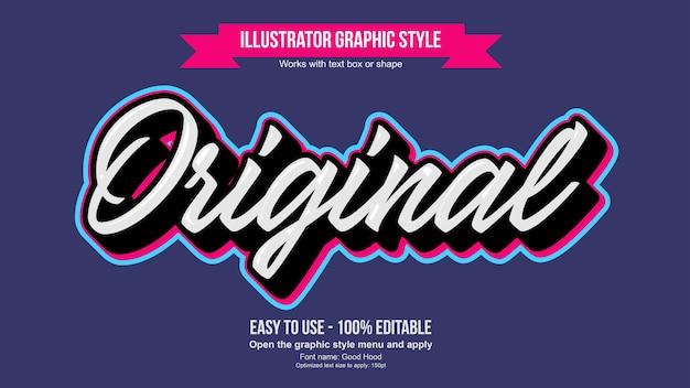 Wit 3d met kleurrijke lijn bewerkbare kalligrafie tekststijl