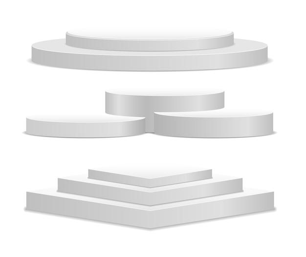 Wit 3d podium in verschillende vormen