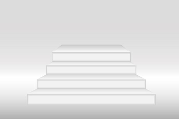 Wit 3d podiummodel in vierkante vorm. leeg podium of voetstuk mockup geïsoleerd op een witte achtergrond. podium of platform voor prijsuitreiking en productpresentatie. vector