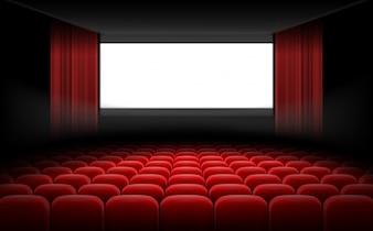 Wit bioscooptheaterscherm met rode gordijnen en stoelen