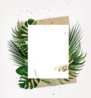 Wit blanco papier blad, notitie of kaart met tropische bladeren, bovenaanzicht