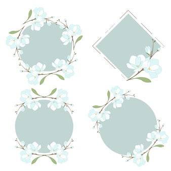 Wit blauw magnolia of jasmijn krans frame