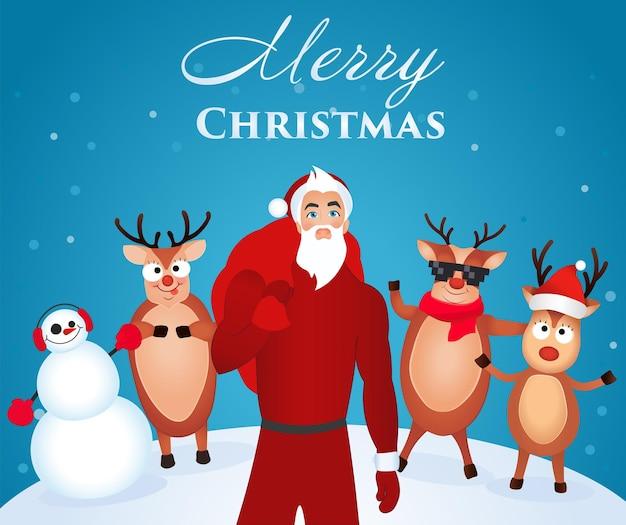 Wit-blauwe poster happy christmas met een afbeelding van een modieuze, moderne en jonge kerstman en zijn vrolijke rendieren op de achtergrond met een sneeuwpop.