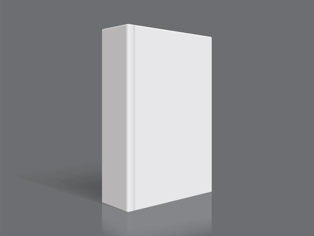Wit boek met dikke omslag geïsoleerd op zwarte achtergrond