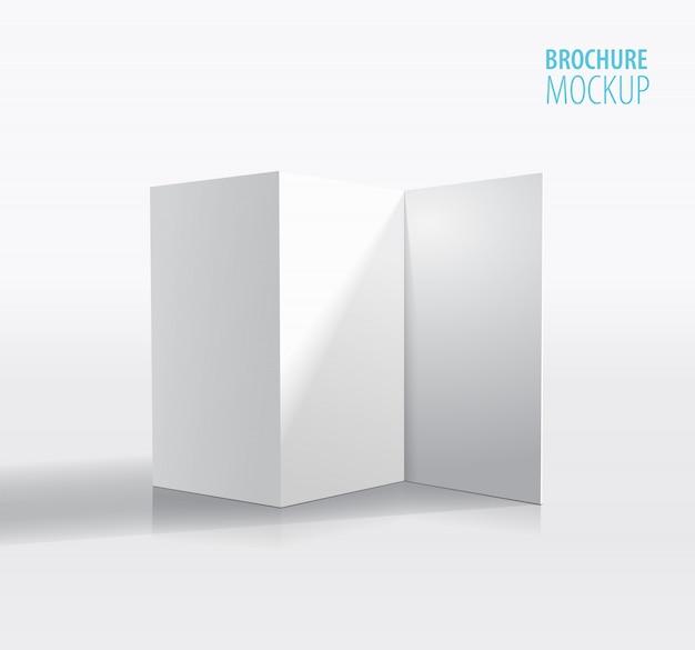 Wit brochureontwerp dat op grijs wordt geïsoleerd.