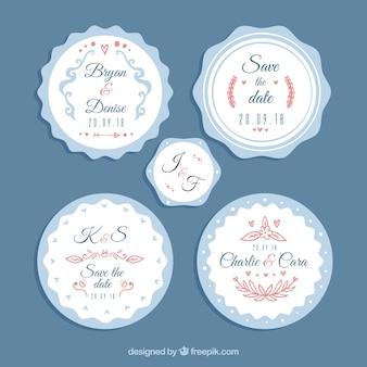 Wit en blauw bruiloftlabel pakket