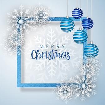 Wit en blauw merry christmas wenskaart