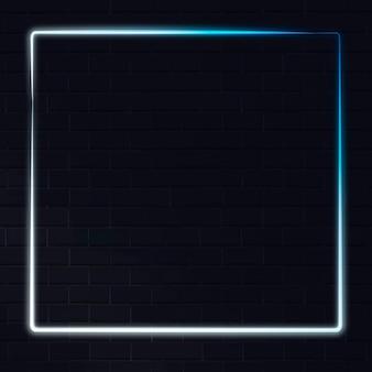 Wit en blauw neonframe op een donkere achtergrond Gratis Vector