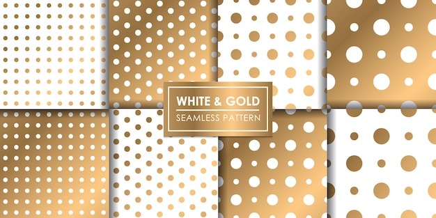 Wit en goud luxe polkadot naadloos patroon, decoratief behang.