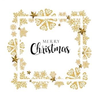 Wit en gouden vrolijk kerstmisframe