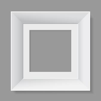 Wit frame geïsoleerd op een grijze achtergrond.