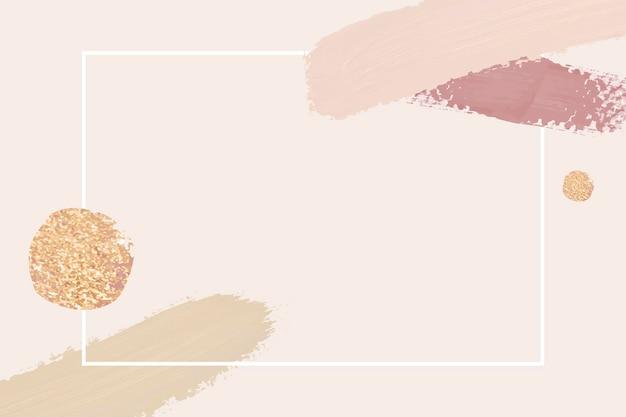 Wit frame met penseelstreken op roze achtergrond