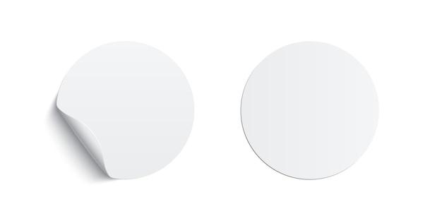 Wit gelijmde ronde stickers